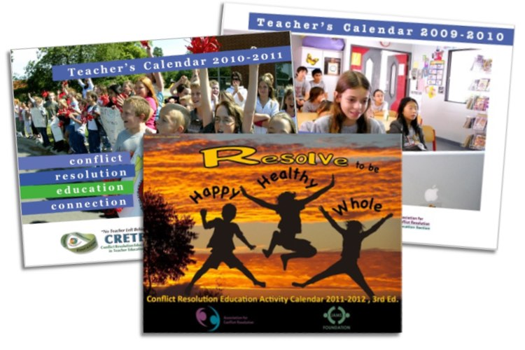 Covers of 3 wall calendars for educators