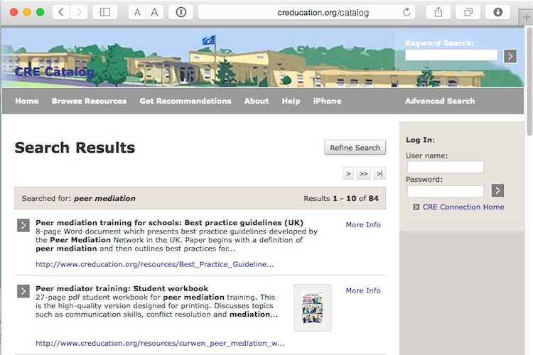 Screenshot of resources catalog site.