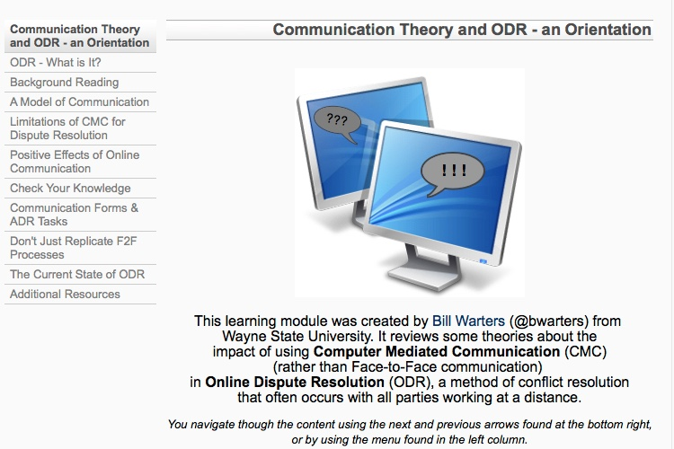Screenshot of Learning Module on ODR