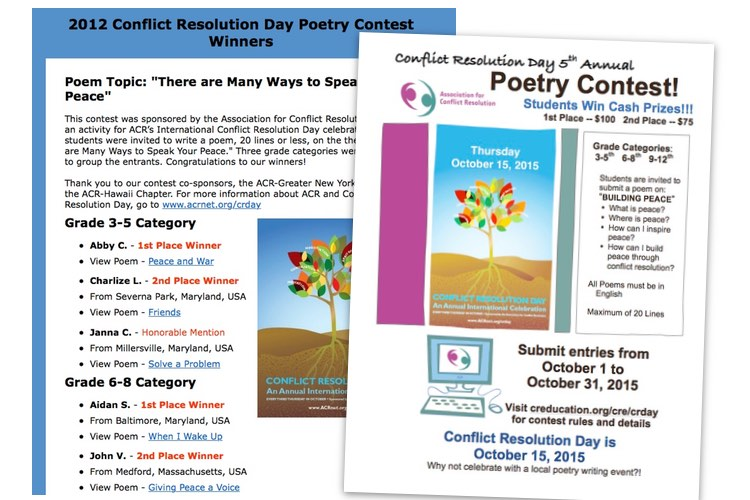 Student Poetry Contest winners website screen capture and a flyer announcing new contest